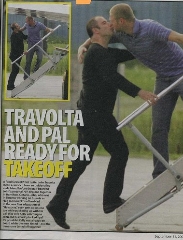 John Travolta kisses male actor on lips